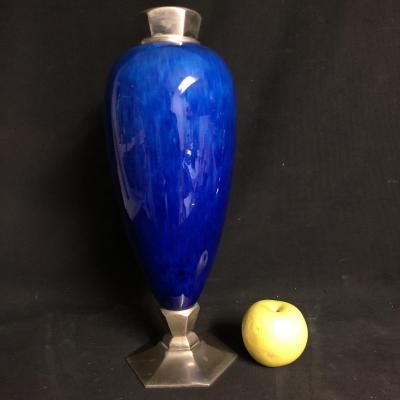 Paul MILET 1870-1950 à Sèvres attribué Grand vase Art Deco en céramique et bronze argenté 1930