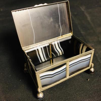 Box Box Agate Nineteenth Guilloche Decor
