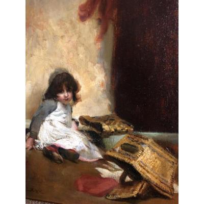 Jules Patrouillard Degrave 1844-1932 Girl With Basket Oil