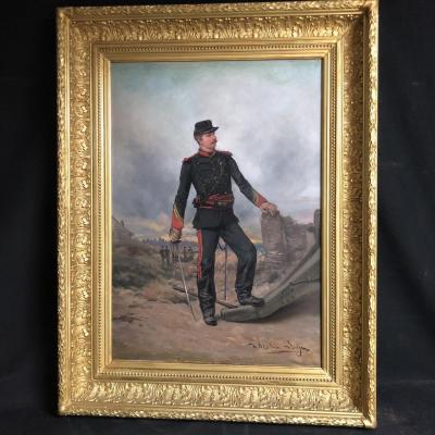 Théodore LEVIGNE 1848-1912 Militaire au canon Lyon armée grande huile Theodore Lévigne