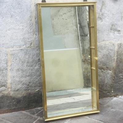 Vitrine De Magasin XIXe En Laiton , Verre Et Miroir Ideal Collectionneur