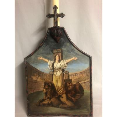 HUILE XIXe sur PORTE CIERGE Sainte Blandine à poser ou pour procession religion