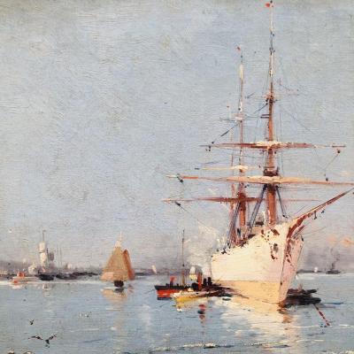 Eugène GALIEN LALOUE Trois mats en Méditerranée et remorqueur rouge  port LIEVIN Galien-Laloue