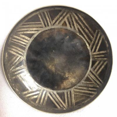 JEAN DUNAND 1877-1942 COUPE creuse en dinanderie géométrique vide poche Art Deco  2/2