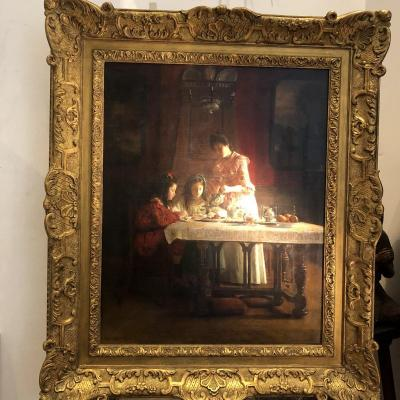 Clovis Didier 1858-1939 Large Oil On Canvas Of 1902 Afternoon Tea  Framed Signed Dated