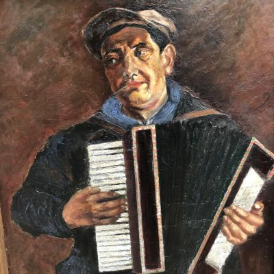 Big Oil On Panel 1930 1940 Accordionist 123 X 103 Cm Art Deco Accordion Ballroom Music