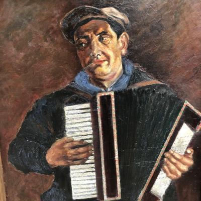 GRANDE HUILE sur panneau 1930 1940 ACCORDEONISTE 123 x 103 cm Art Deco musique de bal accordéon