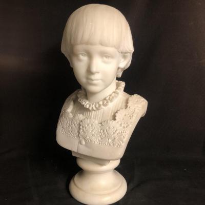 Antonio Giovanni Lanzirotti 1839-1921 Rare Bust In Marble White Boy Jean