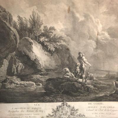 VUE DE CORSE XVIIIe Gravure 1769 D'après le tableau de CAZANOVE au Marquis D'ARCAMBAL Godefroy