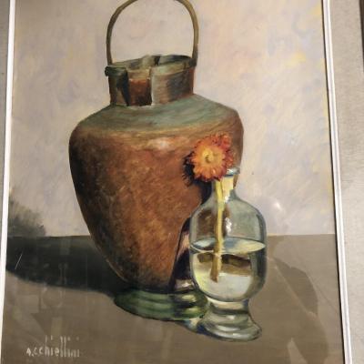 Angelo Cesare CHIELLINI Grande huile sur toile Nature morte  Artiste Italien Livourne Toscane 2