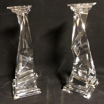 Salvador Dali Baccarat Pair Of Candlestick Crystal Sculptures Castor And Pollux Signed En Tbe