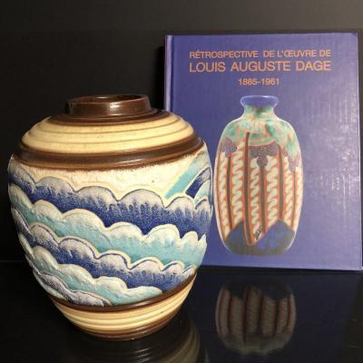 Louis Auguste DAGE 1885-1961 Rare vase Art Deco decor de vagues en relief émaux bleus
