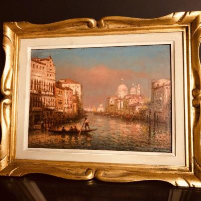 Joachim Miro Nineteenth Twentieth Oil On Panel Venice View Of The Salute From The Grand Canal Gondola