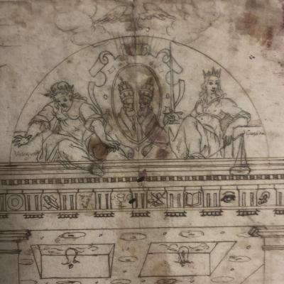 Italian Ink Drawing Of The 17th Portico With 2 Popes Annotations On The Back Pope