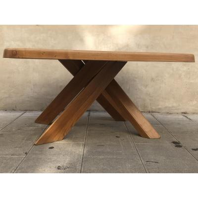 Pierre Chapo Big Table 10 Cutlery Model T35c Aban 151 X 110 Cm 1970 Solid Elm Seltz