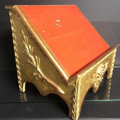 LUTRIN de table / porte livre XIXe en bois doré et rouge
