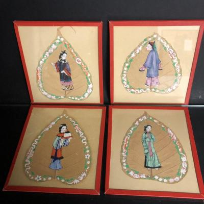 China Nineteenth Canton X4 Gouache Painting On Qing 1/2 Tree Leaf