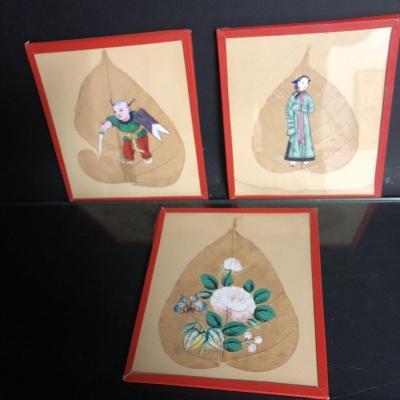 CHINE Canton XIXe X3 peinture gouache sur feuille d'arbre Qing  2/2