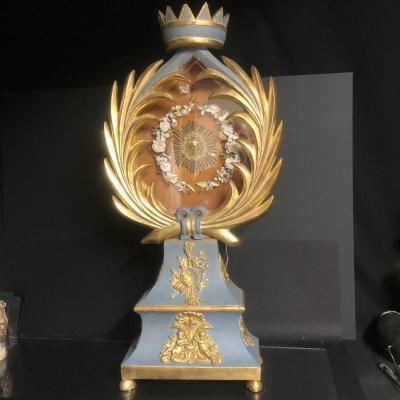 GRAND RELIQUAIRE évêque 79 cm XIXe en bois doré et bleu Présentoir de dévotion couronne Saint CLAIR