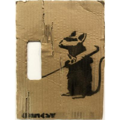BANKSY (1974- ) attribué RARE POCHOIR ORIGINAL RAT signé Street Art Londres