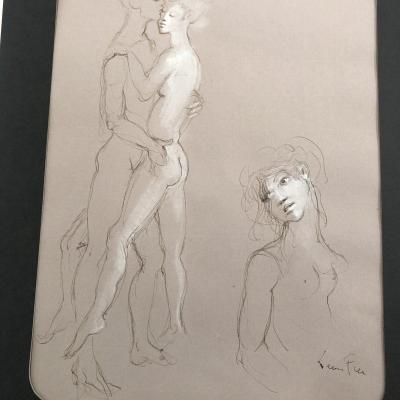 Leonor Fini 1907-1996 Rare Watercolor And Double-sided Gouache Signed In Original Frame