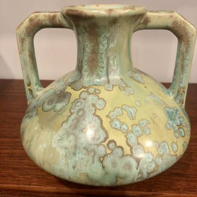 Pierrefonds Stoneware Vase With Loose Handles Art Deco Spectacular Iridescence
