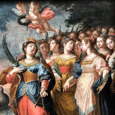 GRANDE HUILE XVIIe signé daté 1641 DOUBLE FACE Sainte Ursule et les 1000 vierges Sainte Zita