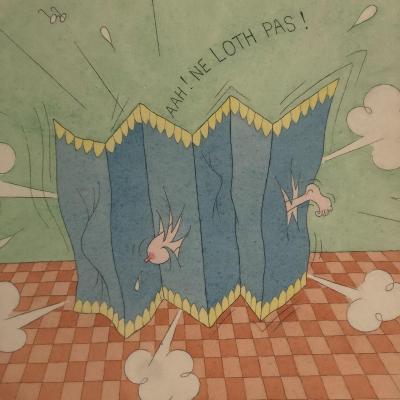 Albert DUBOUT 1905-1976 AQUARELLE Aah! Ne loth pas ! signée humoriste