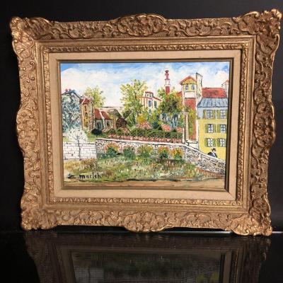 Elisée MACLET 1881-1962 Huile sur toile MONTMARTRE la Crémaière Place du Tertre Paris