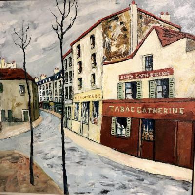 Elisée MACLET 1881-1962 Grande huile sur toile TABAC CHEZ CATHERINE MONTMARTRE  Paris