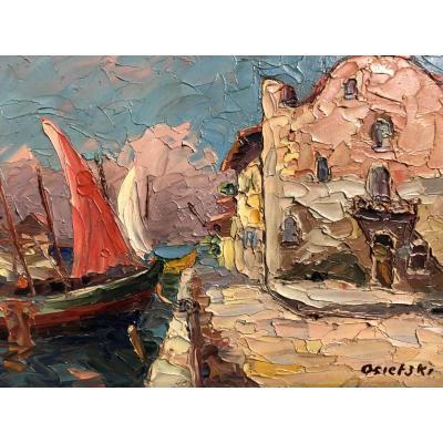 OSIETZKI XIXe/XXe HUILE  LA VOILE ROUGE Port en Provence  Méditerranée Saint-Tropez ?