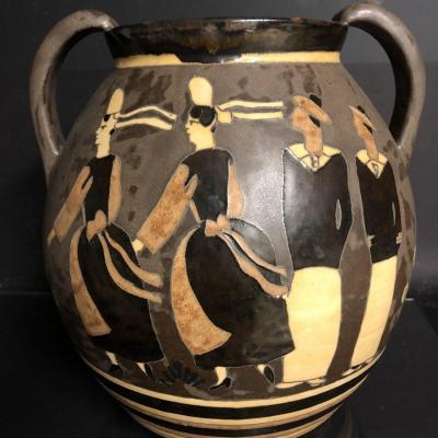 Jules HENRIOT ODETTA Quimper IMPORTANT vase Marins et bigoudènes double face TBE Art Deco 1016