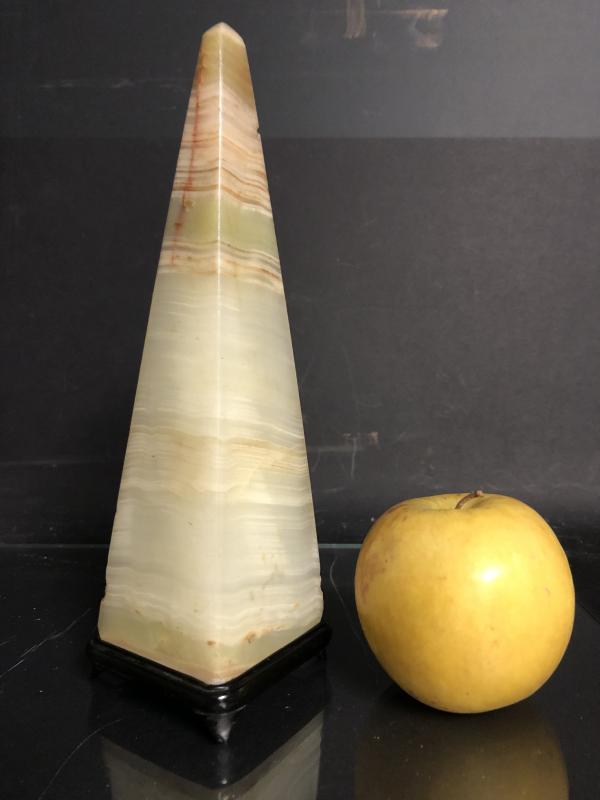 Rare obélisque soclée XIXe en marbre onyx veiné cabinet de curiosité-photo-2
