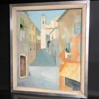 Michel Guerin 1940-2013 Large Oil On Canvas Nice The Old Town