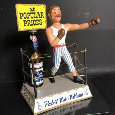 Rare 1950s Advertising Boxer In Metal Beer Pabst Blue Ribbon Usa Pub