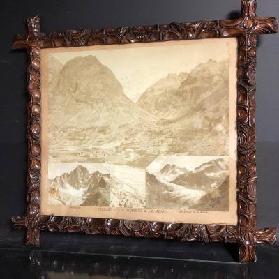 TAIRRAZ x3 PHOTOGRAPHIE Bérarde La Meije Les Écrins montagne Alpes cadre Art Populaire XIXe