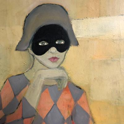 Michel Guerin 1940-2013 Oil On Canvas Arlequin Au Masque Harlequin
