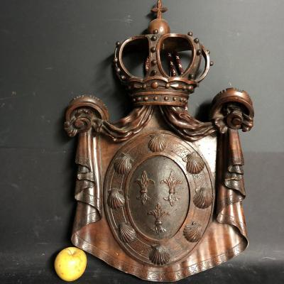 Important Coat Of Arms 18th Century With Crown 60 Cm Shell Lily St Jacques De Compostelle