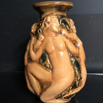 Edouard Cazaux Vase In Enameled Stoneware With Rotating Women Round Norton Edition Art Deco 1940