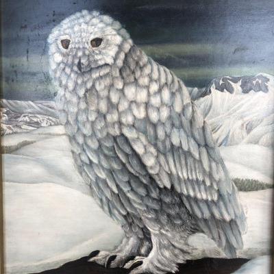 Nicolas AGAPOFF 1899-? Grande huile Chouette Harfang ou hibou des neiges Grand Nord ou Canada