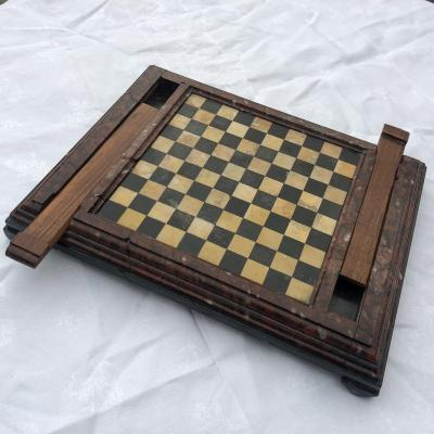 Rare Game Of Drafts 19th In Marquetry Of Marbles Scagliole Chess