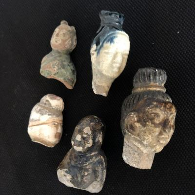 China 5 Heads Fragments Han Period In Terra-cotta Archeology Head Collection