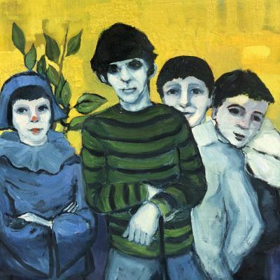 Michel GUERIN 1940-2013 Huile sur toile Enfants déguisés dont l'un en costume d' Arlequin