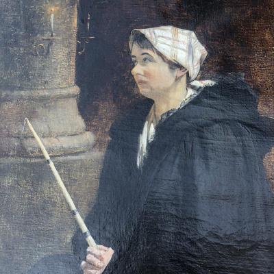 Albert DECAMPS (1862-1908 Allery ) Huile sur toile Femme au cierge Abbeville   1/2