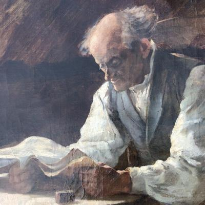 Albert DECAMPS (1862 Allery- 1908 Allery) . French artist. &nbsp;2/2 .Intimist oil on canvas : Man reading .<br /> Signed lower left .<br /> 1880 period .<br /> Size : 37,5 cm x 46 cm .<br /> IN VERY GOOD CONDITION .<br /> Several paintings of this artist are in museum : Amiens , Abbeville , Berck ...<br /> IMPORTANT : This oil is a part of a pair (same origin , same size and same very good condition) : the second will be presented separetly for sale .<br /> <br /> You can follow my galery to be informed about news ...