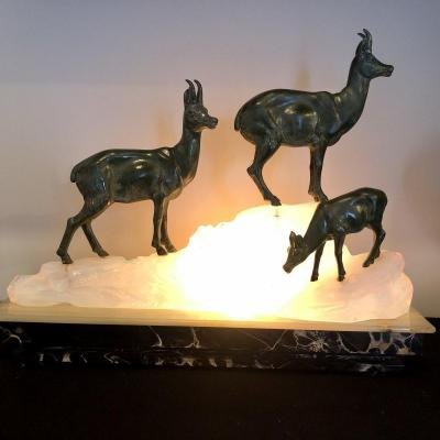 Fritz Diller 1875-1945 Sculpture Lamp Chamois Group On A Glacier Mountain