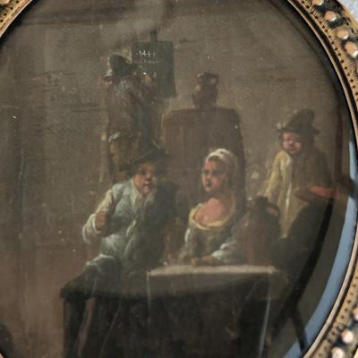 MINIATURE XVIIe cadre en or Scène de taverne Pays-Bas Ecole du Nord Hollande