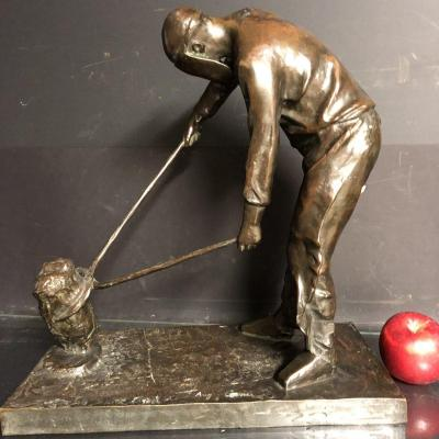 Auguste Cornu 1876-1949 Important Bronze Cingleur At Work Founder Siot In Paris