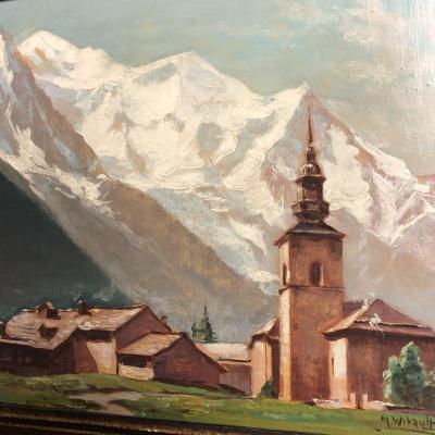 Marcel WIBAULT Huile de 1939 Argentières sur Chamonix LE MONT BLANC signé daté montagne Alpes