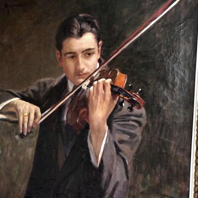 Attilio Guffanti 1875-1943 The Violinist Large Oil On Canvas Violin Music